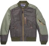 Junya Watanabe Wool-panelled Shell Bomber Jacket - Green
