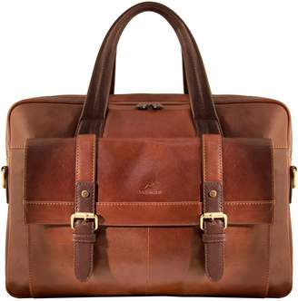 Mancini Calabria RFID-Secure Double-Compartment Leather Briefcase