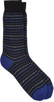 Barneys New York Men's Geometric-Pattern Mid-Calf Socks-BLACK
