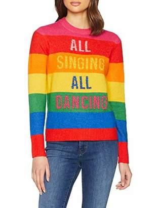 Warehouse Women's All Singing All Dancing Regular Fit Striped Crew Neck Long Sleeve Jumper,(Manufacturer Size:)