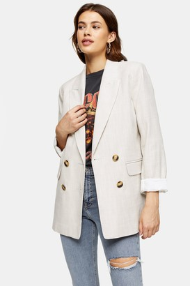 Topshop Womens Ecru Double Breasted Blazer - Ecru
