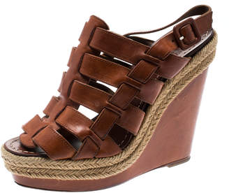 Christian Louboutin Brown Leather Caged Espadrille Wedge Sandals Size 37
