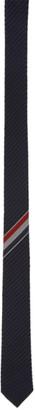 Thom Browne Navy and Black Wool Striped Tie