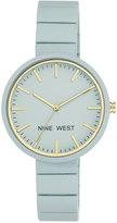 Nine West Women's Blue Rubberized Link Bracelet Watch 36mm