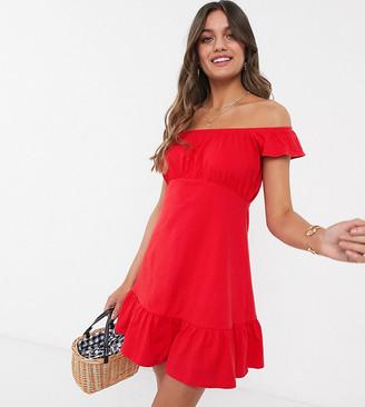 Asos DESIGN Petite off shoulder mini sundress with pep hem in red