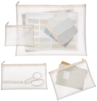 Container Store Blush Zippered Vinyl & Mesh Pouch Sets Pkg/4