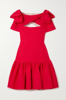 Emilia Wickstead Bow-detailed Cutout Cloque Mini Dress - Red