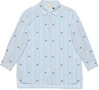 Gucci Boy's Striped Bee Fil Coupe Button-Down Shirt, Size 4-12