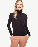 Ann Taylor Cropped Extrafine Merino Wool Turtleneck Sweater