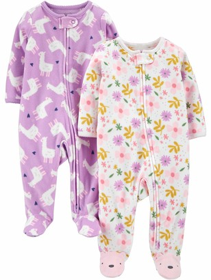 Simple Joys by Carter's Girls' 2-Pack 2-Way Zip Fleece Footed Sleep and Play