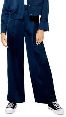 Topshop Satin Wide Leg Trousers