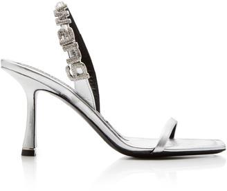 Alexander Wang Ivy Embellished Metallic Leather Slingback Sandals