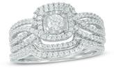 Zales 1/2 CT. T.W. Diamond Double Square Frame Multi-Row Bridal Set in 10K White Gold