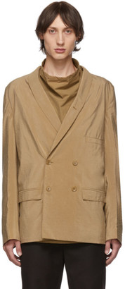 Lemaire Tan Dry Silk Double-Breasted Blazer