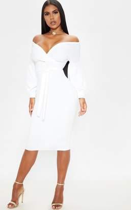 PrettyLittleThing White Wrap Tie Waist Puff Sleeve Midi Dress