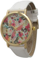 OLIVIA PRATT Olivia Pratt Womens Gold-Tone Multi-Color Floral Print Dial White Leather Strap Watch 14181