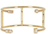 Elizabeth and James 24K Gold Plated Created White Sapphires Sol Cuff Bracelet