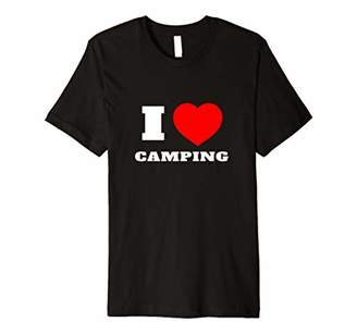 Camper I Love Camping Red Heart Plain Camp Lover Quote Gift Premium T-Shirt
