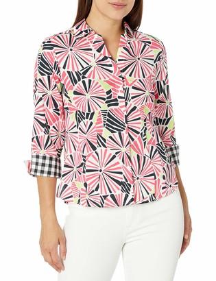 Foxcroft Women's Petite Size 3/4 Sleeve Taylor Tahitian Floral Shirt
