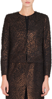 Akris Shiva Hook-Front Metallic-Leather Eyelash-Detail Jacket