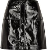 River Island Womens Black patent buttoned mini skirt