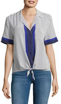 Equipment Striped Silk Short-Sleeve Blouse