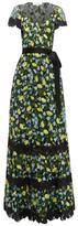 Diane von Furstenberg Victorious Lemon-embroidered Lace Wrap Dress - Womens - Black Multi