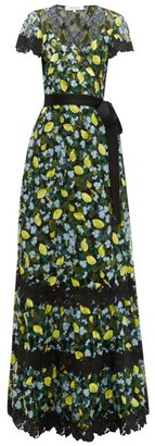 Diane von Furstenberg Victorious Lemon-embroidered Lace Wrap Dress - Womens - Black Multi