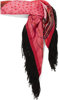Sacai Fringed Printed Satin Scarf - Red