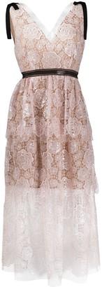 Self-Portrait Floral-Embroidered Midi Dress