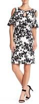 Sangria Floral Cold Shoulder Dress