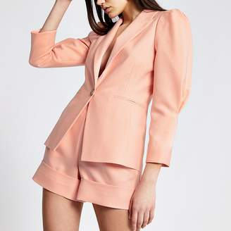 River Island Coral long puff sleeve blazer