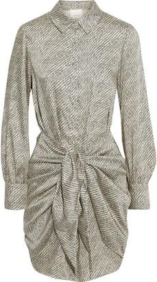 Cinq à Sept Gaby Tie-front Printed Satin-twill Mini Shirt Dress