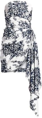 Oscar de la Renta Strapless Floral Sash Mini Dress