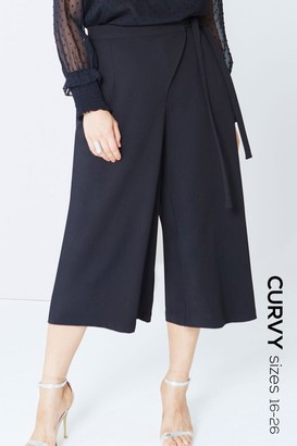 Girls On Film Black Wrap Front Culottes