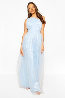 boohoo Occasion Mesh One Shoulder Extreme Maxi