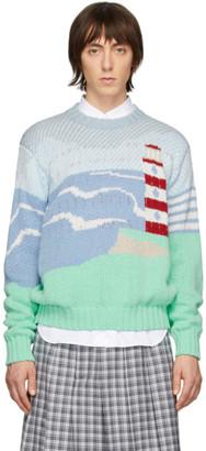 Thom Browne Blue Intarsia Lighthouse Sweater