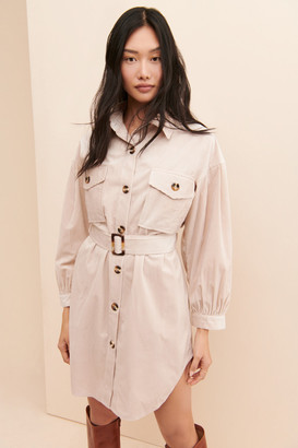 J.o.a. Balloon Sleeve Corduroy Belted Shirtdress