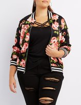 Charlotte Russe Plus Size Floral Striped Bomber Jacket
