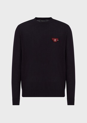 Emporio Armani Virgin Wool Plain-Knit Sweater With Emoji Patch