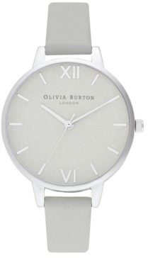 Olivia Burton Women's Gray Leather Strap Watch 34mm