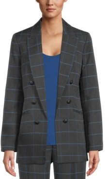 Bar III Windowpane Faux-Double-Breasted Jacket, Created for Macy's
