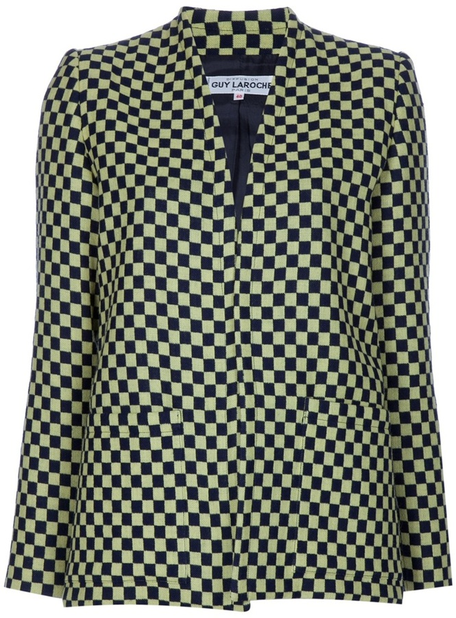 Guy Laroche Vintage collarless checked jacket