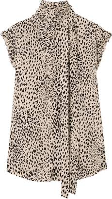 Haider Ackermann Pussy-bow Pleated Leopard-print Silk Crepe De Chine Blouse