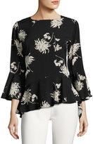Neiman Marcus Chrysanthemum Floral-Print Top, Black Pattern
