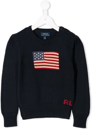 Ralph Lauren Kids Logo Flag Embroidered Sweatshirt