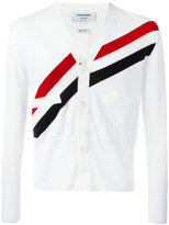 Thom Browne V-Neck With Red, White And Blue Diagonal Stripe In Cotton Crepe