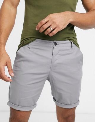 ASOS DESIGN skinny chino shorts in light gray
