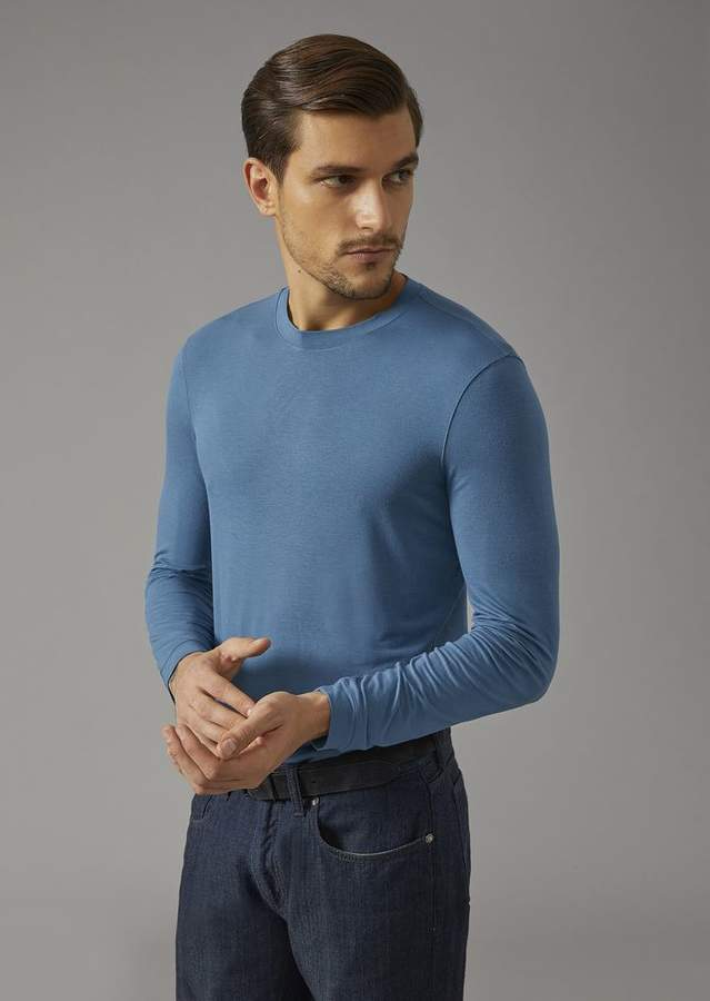 Giorgio Armani Crew Neck Sweater In Single Jersey