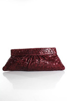 Lauren Merkin Burgundy Leather Quilted Magnetic Closure Clutch